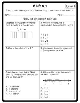 6th Grade Number System Differentiated Standard Sheets