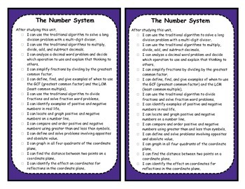 6th Grade Number System Objectives Posters and Journal Checklists