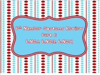 6th Grade Number Systems Review Part 1 (6.NS.1, 6.NS.3, 6.NS.4)