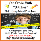 6th Grade October Daily Problem Solving: Math Challenge Problems (Multi-Step)