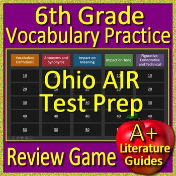 6th Grade Ohio State Test Air Prep Vocabulary Practice Review Game - OST ELA
