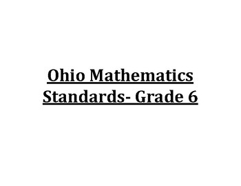 6th Grade Ohio Math Standards Posters
