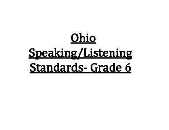 6th Grade Ohio Speaking & Listening Standards Posters