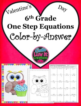 Valentine's Day One Step Equations No Negatives Color by Number