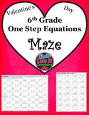 Valentine's Day One Step Equations No Negatives Maze