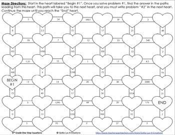Valentine's Day Math Activity Bundle One Step Equations No Negs Color by Number
