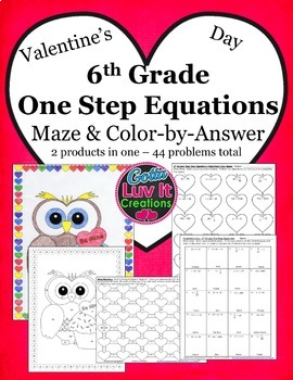 Valentine's Day Math One Step Equations Bundle - Valentine