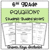 6th Grade One-Step Equations Student Guided Notes