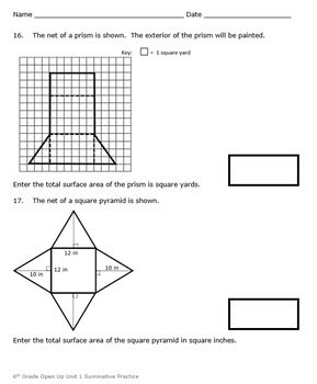 6th Grade Open Up Resources Unit 1 Math Summative Practice - Editable - SBAC