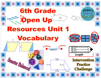 6th Grade Open Up Resources Unit 1 Vocabulary Cards - Editable - SBAC