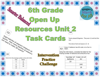 6th Grade Open Up Resources Unit 2 Task Cards - Editable - SBAC