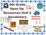 6th Grade Open Up Resources Unit 2 Vocabulary - Editable - SBAC