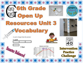 6th Grade Open Up Resources Unit 3 Vocabulary Cards - Editable - SBAC