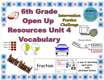 6th Grade Open Up Resources Unit 4 Vocabulary - Editable - SBAC