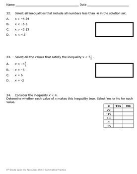 6th Grade Open Up Resources Unit 7 Math Summative Practice - Editable - SBAC