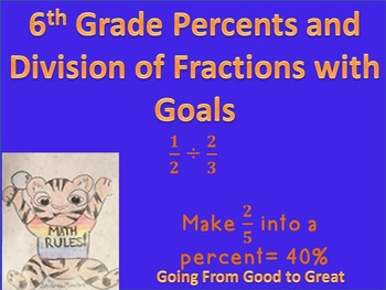 6th Grade Percent and Division of Fraction Test with Goals