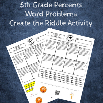 6th Grade Percents Word Problems Create the Riddle Activity