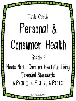 Personal and Consumer Health Task Cards for 6th Grade