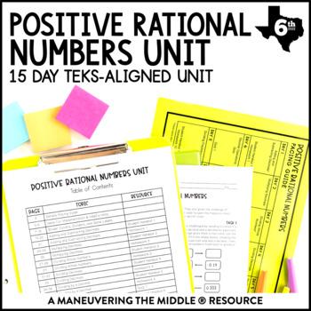 6th Grade Positive Rational Numbers Unit: TEKS 6.2E, 6.3B, 6.3E