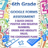 6th Grade Positive and Negative Numbers 3 Quick Checks Google Forms Assessments