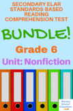 6th Grade Prentice Hall Lit. Unit 3 Types of Nonfiction Reading Tests (15 total)
