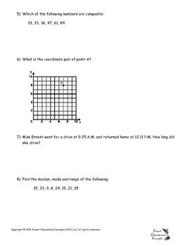 6th Grade Prior Knowledge Exam