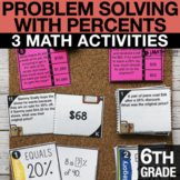6th Grade Problem Solving with Percents Activities   6th G