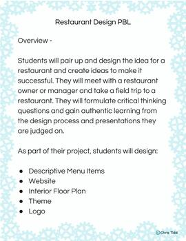 6th Grade Project Based Learning - Restaurant Design and Website Build