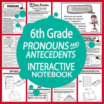 Pronouns and Antecedents Interactive Notebook (L.6.1a, L.6