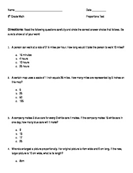 6th Grade Proportions and Rates Multiple Choice Test