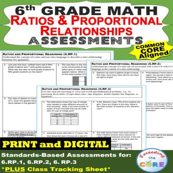 6th Grade RATIOS & PROPORTIONAL RELATIONSHIPS Assessments (6.RP) Common Core
