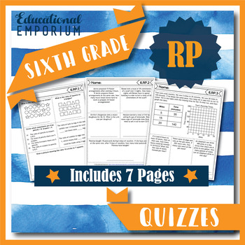 6th Grade RP Quizzes: Ratios & Proportional Relationships Assessments