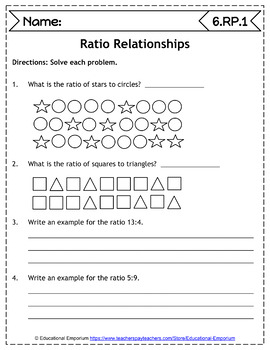 6th Grade RP Worksheets: Ratios & Proportional Relationships, 6th Grade Math