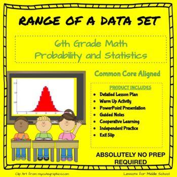6th Grade Probability and Statistics  - Range of a Data Set
