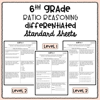 6th Grade Ratio Differentiated Standard Sheets