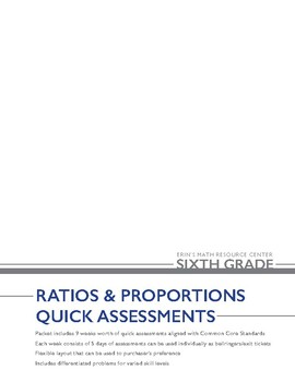 6th Grade Ratio & Proportions Quick Assessments