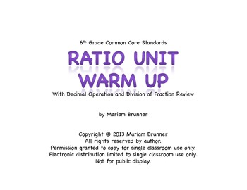 6th Grade Ratio and Proportion - 20 Days of Warm Ups: Common Core Standards