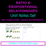 6th Grade Ratio and Proportional Relationships Notes Set