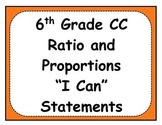 6th Grade Ratio and Proportions Objectives Posters and Journal Checklists