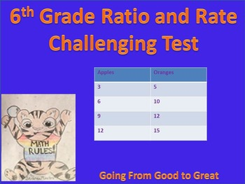 6th Grade Ratio/Rate Challenging Test