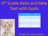 6th Grade Ratio/Rate Math Test with Goals