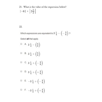 6th Grade Rational Number Challenging Test