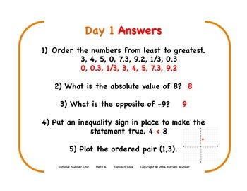 6th Grade Rational Numbers - 15 Days of Warm Ups: Common Core Standards