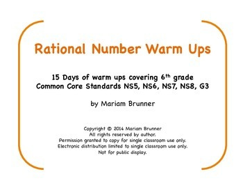 6th Grade Rational Numbers - 15 Days of Warm Ups: Common C