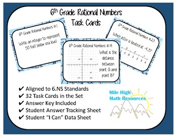 6th Grade Rational Numbers Task Cards