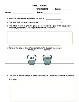 6th Grade Ratios CCSS aligned Assessment w/ answer key