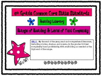 6th Grade Reading Common Core Standards Posters