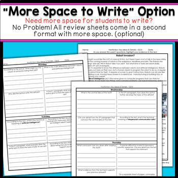 6th Grade Reading Comprehension   Homework or Warm Ups FREE