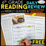 6th Grade Reading Review & Quizzes with Constructed Respon