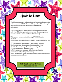 6th Grade Reading Comprehension: PARCC Style